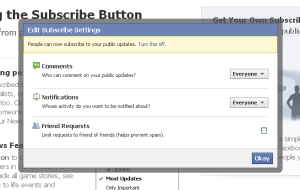 Subscribe Button in your Facebook Account