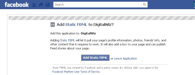 official facebook static FBML app